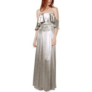 Fame and Partners Dress Gown Metallic Ruffle